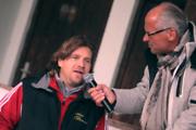Köche-Mannschafts Coach Christian Sager bei der Schlussanalyse mit Didi Ziesel